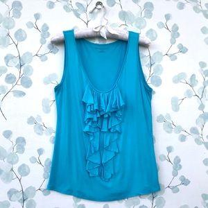 New York & Company Ruffled Turquoise Blue Tank Top